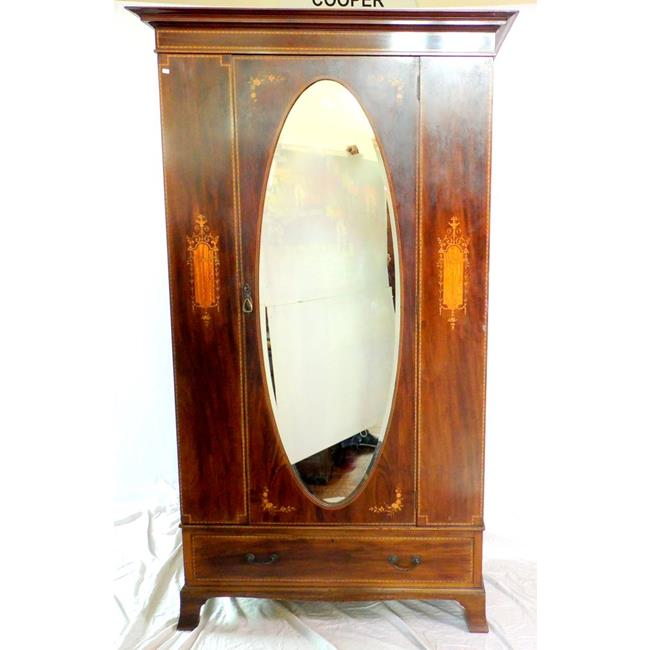 Edwardian Inlaid Mahogany Single Wardrobe.