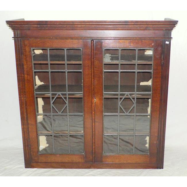 Antique Oak Leaded Glass Display Cabinet