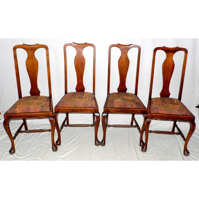 Four Mahogany Queen Anne Style Dining Chairs