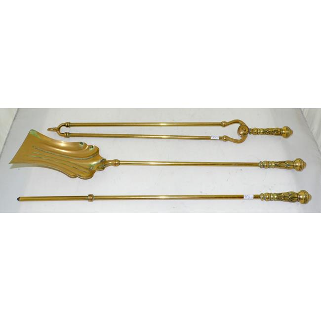 Antique Brass Fire Irons with Decorative Handles