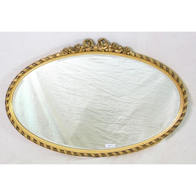 1930s Oval Giltwood Mirror with Bevelled Lense