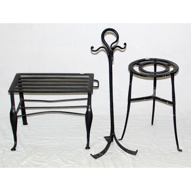 Antique Wrought Iron Trivets and a Fire Tool Stand