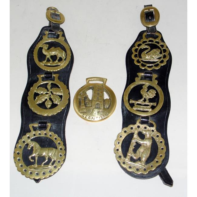 Antique Pair of Leather Martingales with Brasses