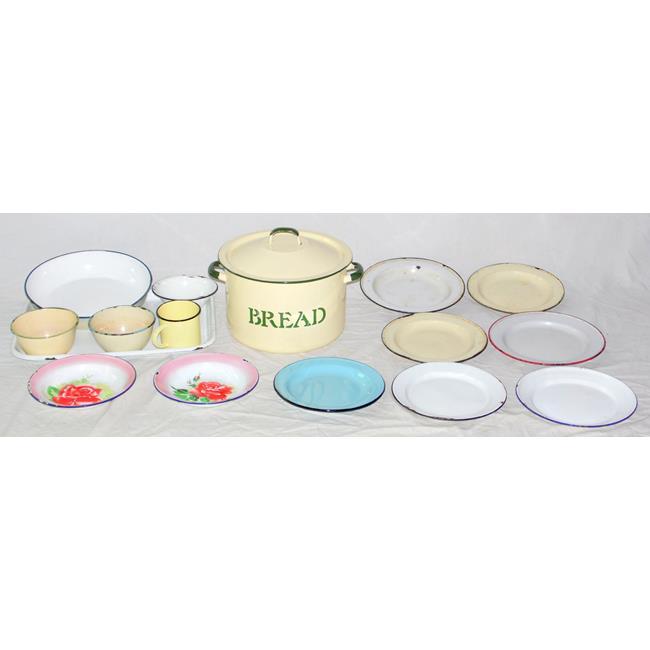 Vintage Cream Enamel Circular Bread Bin /Cover etc