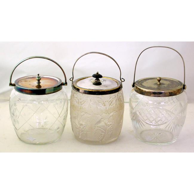 3 Silver Plated EPNS Mounted Glass Biscuit Barrels