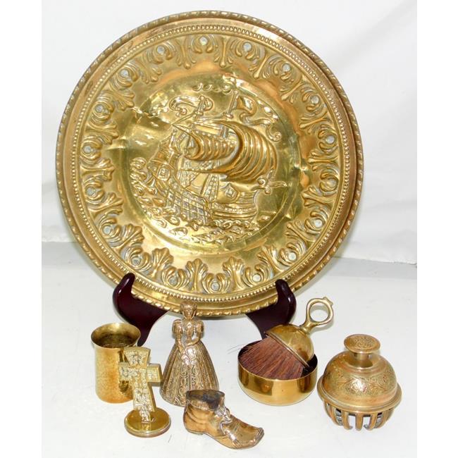 Antique Brass Items including Brass Plaque
