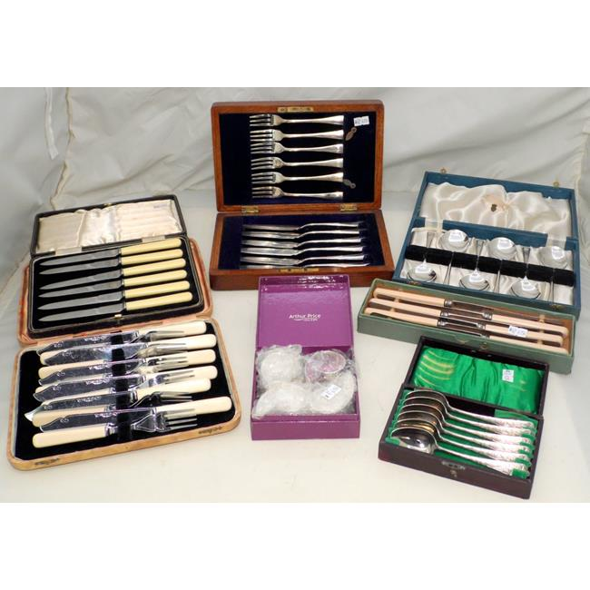 Collection of 6 Box Sets of Silver Plate Flatware