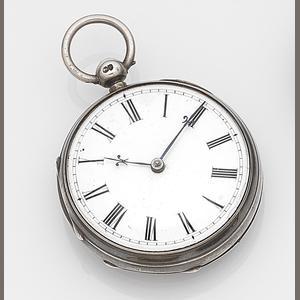 Vuilliamy. A silver key wind open face pocket watch in later case