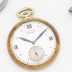 Eterna. An 18ct gold keyless wind open face pocket watch