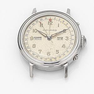 Movado. A stainless steel manual wind triple calendar watch head
