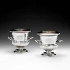 A pair of George III silver two-handled wine coolers with silver liners