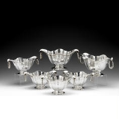 A suite of six American silver two-handled dishes