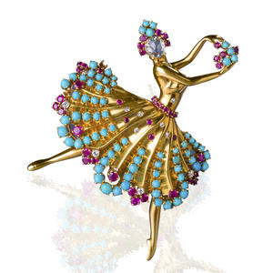 """A diamond, ruby, and turquoise """"Clip Danseuse"""" brooch"""